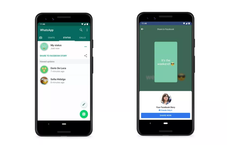 status of whatsapp to be shared on facebook