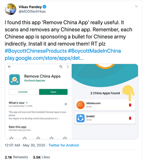 "Indian Engineer made ""Remove China Apps"" to help users remove apps Made In China. 3"