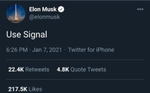 "Elon Musk responds with""Use Signal"", hinting at it as an alternative for WhatsApp after the latter amended the user privacy policies 2"