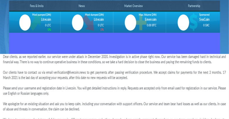 Livecoin, the Russian Crypto Exchange Shuts Down After December Hack 1