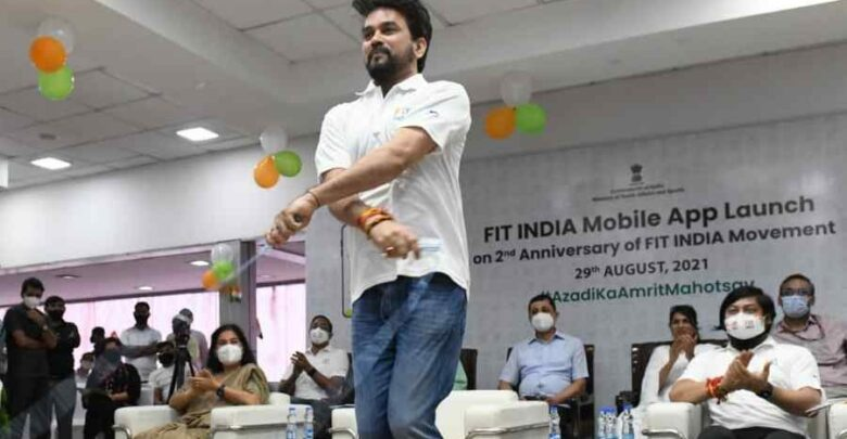 """Anurag Thakur, the Sports Minister, released """"Fit India app"""" to commemorate Fit India Initiative's second anniversary 1"""