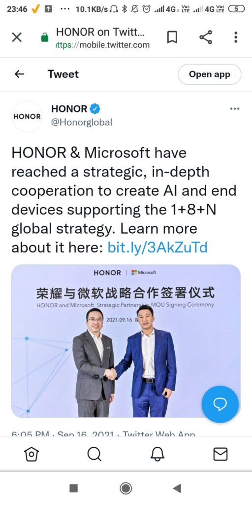 Honor and Microsoft have teamed up to build new artificial intelligence devices 1